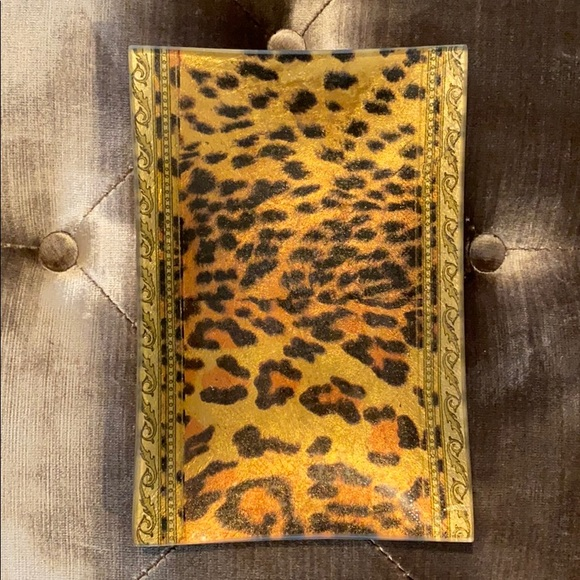 Other - Leopard and Gold Glass Tray Dish look like Versace